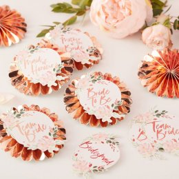 BADGES 6-PACK | team bride - blommor