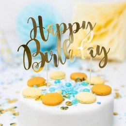 CAKE TOPPER | happy birthday - guld