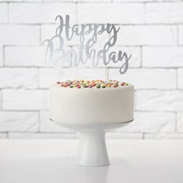 CAKE TOPPER | happy birthday - silver