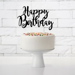 CAKE TOPPER | happy birthday - svart