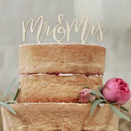 CAKE TOPPER | mr & mrs - trä