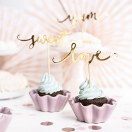 CUPCAKE TOPPERS | yum, sweet, love - guld