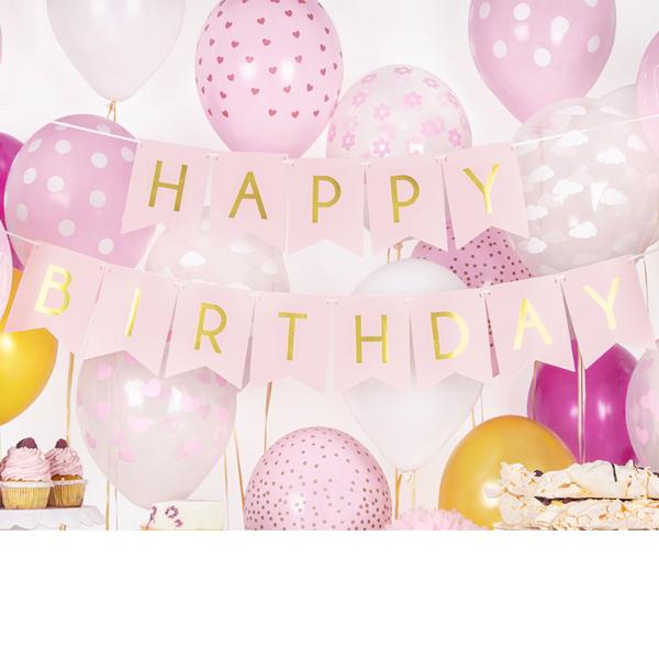 Happy Birthday - Rosa - Festligheter.se